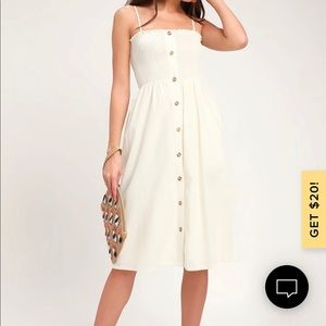 Made To Love Cream Smocked Button-Front Midi Dress